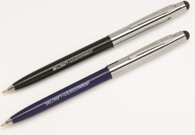 image of blue and black retractable ballpoint pens and stylus